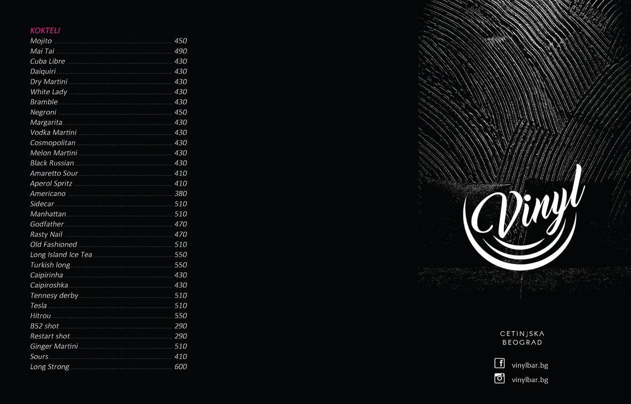 Vinyl Menu Design